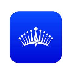 big crown icon digital blue vector image