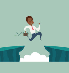 Black african american businessman jump over cliff vector