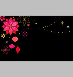 black christmas card background with flowers vector image