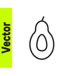 black line avocado fruit icon isolated on white vector image