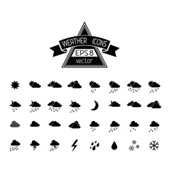 Black weather icons isolated on white background vector