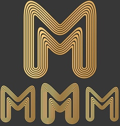 Bronze line m logo design set vector image