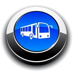 Bus 3d round button vector