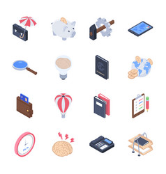 Business startup development icons pack vector