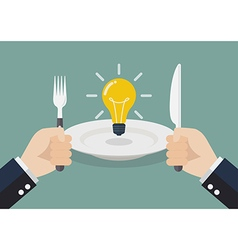Businessman eating an idea vector image vector image