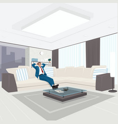 Businessman resting in living room vector