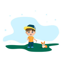 cartoon funny little boy vector image