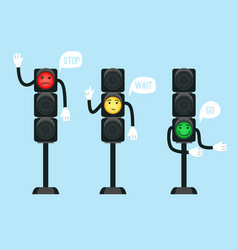 cartoon traffic lights vector image
