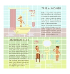 Children on the bathroom interior vector image vector image