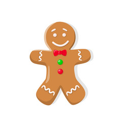 Christmas gingerbread man with bow isolated vector