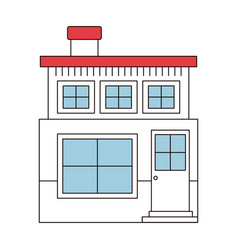 Color sections silhouette house of two floors and vector