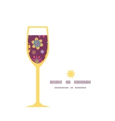 Colorful stars wine glass silhouette pattern frame vector