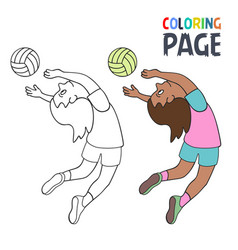 coloring page with woman volley ball player vector image