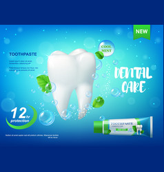 Cool mint toothpaste and tooth realistic vector