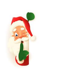 cute santa claus peeking on left side board vector image