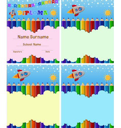Diploma and background template with color pencils vector