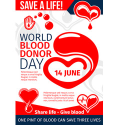 donate blood and save life medical banner design vector image