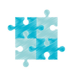 drawing blue puzzle jigsaw piece vector image