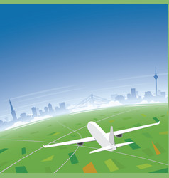 dusseldorf skyline flight destination vector image