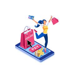 E-commerce cart pay concept vector