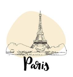 Eiffel tower in paris france simple sketch vector