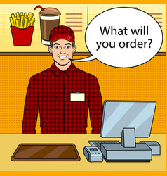 Fast food seller at work pop art vector