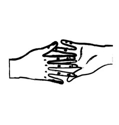 Figure nice hands together like friendship symbol vector