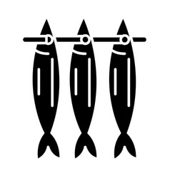 fish drying icon black sign vector image