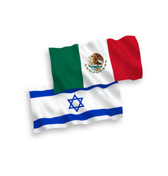 Flags mexico and israel on a white background vector