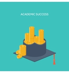 Flat background with academic vector