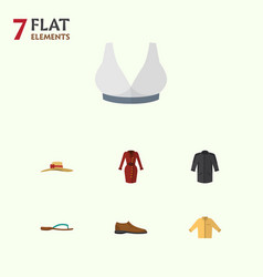 flat dress set of elegant headgear beach sandal vector image