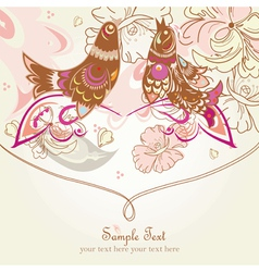 Flower background with bird vector image