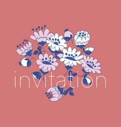 flowers hand drawn invitation template vector image