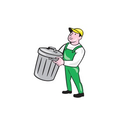 Garbage Collector Carrying Bin Cartoon vector