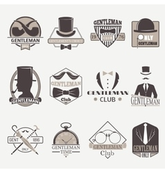 Gentlemens hipster icons vector image