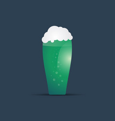 glass green beer for st patricks day foamy beer vector image