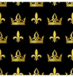 Golden crowns and fleur de lis seamless vector