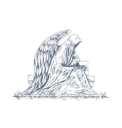 Gravestone grave with stone angel sculpture vector