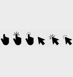 hand click icon set pointer icons isolated vector image