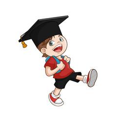 happy boy student graduate vector image