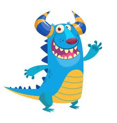 happy cartoon blue monster mascot vector image