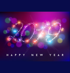 happy new year 2019 bokeh blur color star shape vector image