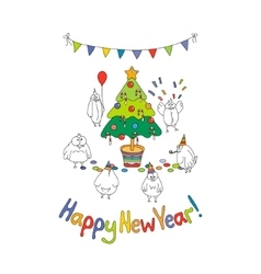 Happy New Year greeting card with cartoon funny vector image