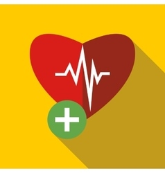 heartbeat icon in flat style vector image