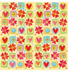 hearts and flowers background vector image