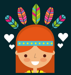 Hippie woman cartoon feathers retro vector