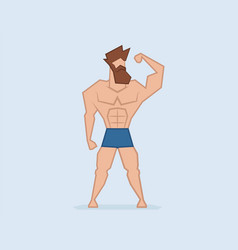 hipster strongman beard man muscular athlete vector image
