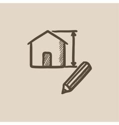 House design sketch icon vector