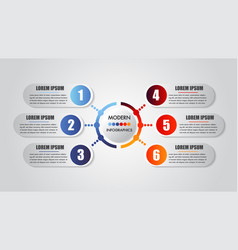 Infographics business 6 steps options concept vector