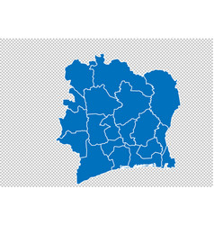 Ivory coast map - high detailed blue map with vector